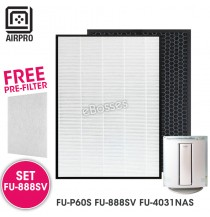 AIRPRO for Sharp FU-888SV Replacement Air Purifier HEPA & Deodorizing Filter for FU-P60S FU-888SV FU-4031NAS