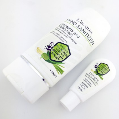 Lacqua Hand Sanitizer 85% Alcohol Soothing Gel and Moisture Aloe Vera 92% and Lemongrass