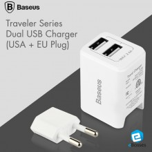 Baseus 2.4A Dual USB Charger Travel Charger Design Dual USB Charger