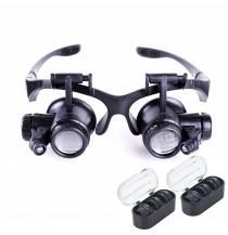 8 Lens 10x 15x 20x 25x Headband 2LED Magnifier Magnifying Loupe 9892G
