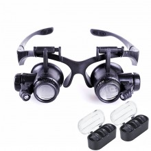 8 Lens 10x 15x 20x 25x Headband 2LED Magnifier Magnifying Loupe 9892G