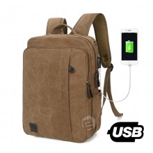 Men Fashion External USB Charge Backpack Canvas Casual Travel Bag