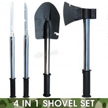 Multifunctional Military Folding Shovel Tool Kit w/ Carry Bag Outdoor Camping
