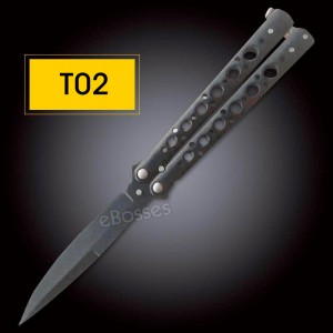 Black Trainer Butterfly Balisong Style  Blade Knife