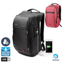 KINGSONS Men Women Computer Bag Anti-theft Travel Backpack with USB Charging Port