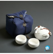 Tea Talent Chinese & Japanese Portable Travel Kungfu Tea Set - Porcelain Teapot & Teacups with Handbag,