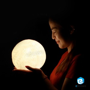 Night Light LED 3D Printing Moon Lamp Touch Control Brightness with USB Charging Diameter 13cm / 18cm
