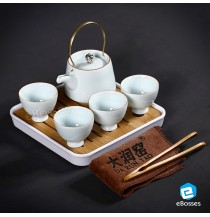 Portable Travel Kungfu Tea Set Porcelain Teapot & 4 Teacups & Bamboo Tray & Storage Bag (Black)