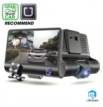 4 Inch 1080P 170 Degree Dual Lens Car DVR Dash Cam G-sensor Recorder + Rear view Camera