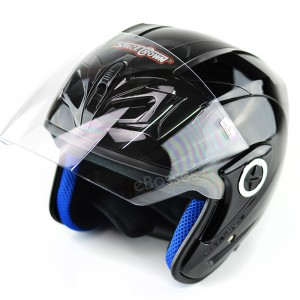 Open Face Helmet Phoenix 5 with Adjustable Functional Air Vents Shield, Gloss Black (PN-01)
