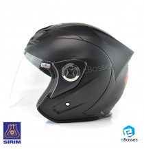 Open Face Helmet Phoenix 5 with Adjustable Functional Air Vents Shield, Matt Black (PN-02)
