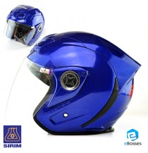 Open Face Helmet Phoenix 5 with Adjustable Functional Air Vents Shield, BLUE (PN-03)