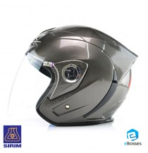 Space Crown Helmet Phoenix 5 with Adjustable Functional Air Vents Shield, Grey (PN-04)