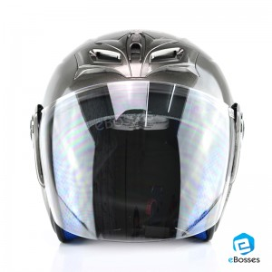 Open Face Helmet Phoenix 5 with Adjustable Functional Air Vents Shield, Grey (PN-04)