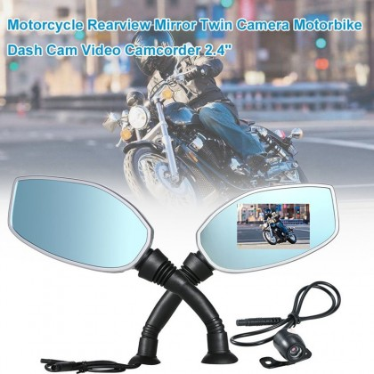 "Motorcycle 2.4"" Rearview Mirror Twin Camera Motorbike Dash Cam Video Camcorder"