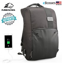 KINGSONS Men Women Laptop Backpack Waterproof USB Charge School Bag