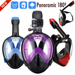 Panoramic 180º View Full Face Snorkel Mask with Anti Fog Technology, Dry Top Snorkel