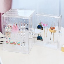 eBosses Acrylic Jewelry Storage Box Earring Display Hanging Stand Organizer Holder Rack With 3 Vertical Drawer Clear