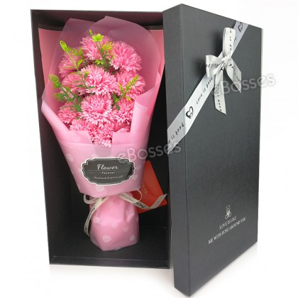 11Pcs Carnations Soap Flower Bouquet Artificial Flower in Box Gift for Mothers' Day, Teacher's Day, Party, Anniversary, Decoration of Office and Coffee House (Pink)