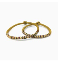 1 Pair Handmade Knots Gold Good Lucky Rope Bracelet by Tibetan