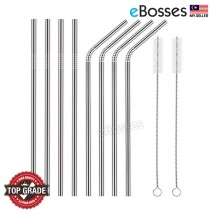 Set of 8 Stainless Steel Reusable Straw Ultra Long 10.5 Inch Drinking Metal Straws For Tumblers Rumblers Cold Beverage (4 Straight, 4 Bent, 2 Brushes)
