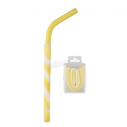 Silicone Folding Drinking Straw Reusable Food-Grade Travel Portable with Hard Case for Gift