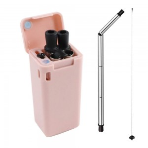 Reusable Straw Collapsible Stainless Steel Food Grade Silicone Drinking Straw Easy Carry with Case and Cleaning Brush