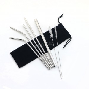 Set of 5 Stainless Steel Straws Drinking Metal Straws For Tumblers Rumblers Cold Beverage (3 Straight, 2 Bent, 2 Brushes)