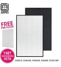 AIRPRO for Sharp Replacement Air Purifier HEPA & DEODORIZING Filter Set for FU-S51E, FU-W43E, FU-W53E FU-S40E, FZS51SEF