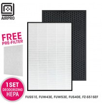 AIRPRO for Sharp Replacement Air Purifier HEPA & DEODORIZING Filter Set for FU-S51E, FU-W43E, FU-W53E FU-S40E, FZS51SEF