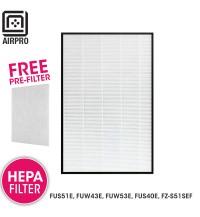 AIRPRO for Sharp Air Purifier HEPA Filter for FU-S51E, FU-W43E, FU-W53E FU-S40E, FZS51SEF