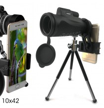 Monocular Telescope 10x42 High Power Monocular BAK4 Prism FMC Len Scope with Smartphone Holder &Tripod - Bird-Watching, Travel, Concert, Sports, Outdoor
