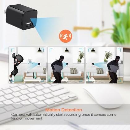 1080P Motion Detection USB Wall Charger Camera Plug Adapter Camera Loop Recording Nanny Cam Support 32GB Storage