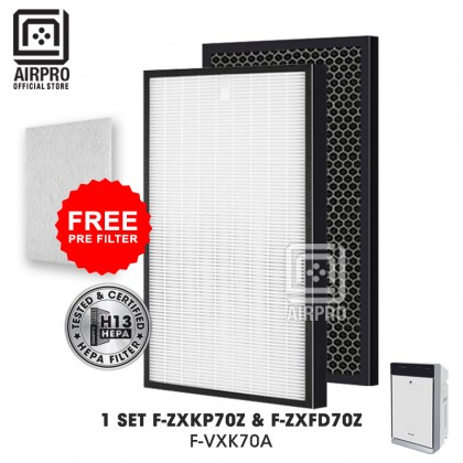 AIRPRO for Panasonic F-ZXKP70Z & F-ZXFD70Z Replacement Air Purifier HEPA Deodorizing Filter for F-VXK70A