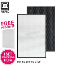 AIRPRO for Sharp FZ-C100HFU FZ-C100HFE Replacement Air Purifier HEPA & Deodorizing Filter for KC-850, KC-C100