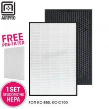 AIRPRO for Sharp FZ-C100HFU FZ-C100HFE Replacement Air Purifier HEPA & Deodorizing Filter for KC-850, KC-C100