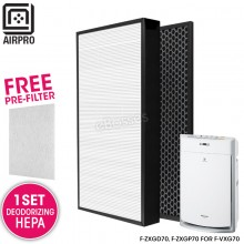 AIRPRO for Panasonic F-ZXGD70, F-ZXGP70 Replacement Air Purifier HEPA Composite + Activated Carbon Filter for F-VXG70
