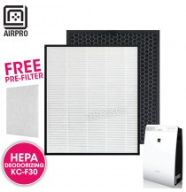 AIRPRO for Sharp KC-F30 Replacement Air Purifier HEPA & Deodorizing Filter for KC-F30LW