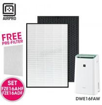 AIRPRO for Sharp FZ-E16AHF FZ-E16ADF Replacement Air Purifier HEPA & Deodorizing Filter for DWE16FAW