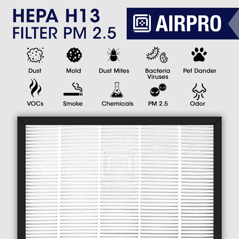 AIRPRO HEPA H13 Filter Effective against: